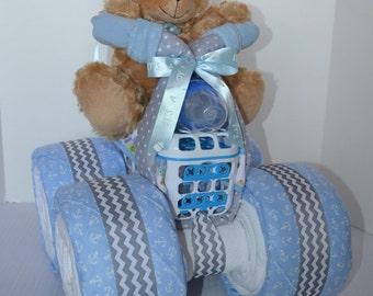 Quad Diaper Cake, 4-Wheeler, ATV, Motorcycle, Baby Boy Gift Cake, Centerpiece, Baby Shower Gift,Teddy Bear
