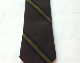 Vintage 1960s Skinny Tie // Superba Score // Brown // Striped // Stripes // Wool // Free U.S. Shipping