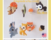 Baby Mobile, Woodland Friends Mobile, Animals Mobile, Made to Order Mobile, Bunny Fox Deer Owl Squirrel, Custom Mobile