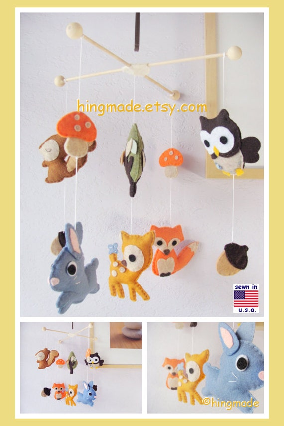Baby mobile woodland friends mobile animals mobile by hingmade for Woodland animals nursery mobile