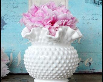 Large Round Hobnail Vase by Fenton / My Milk Glass Wedding / Fenton Milk Glass Vase