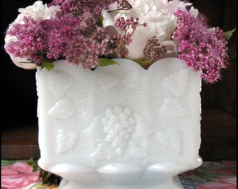 Westmoreland Paneled Grape Planter / Milk Glass Wedding Vase / Hip to be Square