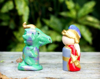Michaelmas - Saint Michael and Dragon - Peg Dolls - Natural Wooden Toys - Storytelling