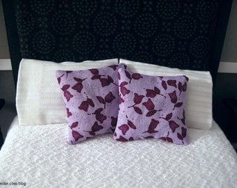 Lavender floral pillows - set of two - dollhouse miniature