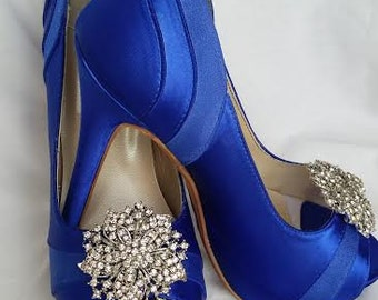 Wedding Shoes Blue Wedding Shoes also Available in Over 100 Colors Blue Shoes with Crystals Flower