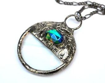 Magnifying Glass Necklace, Artisan Jewelry, Long Neck Chain, Better than Readers, Magnifier Pendant, Monocle, Loupe, Teal Blue Green  (2328)