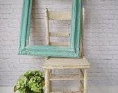 A Q U A, Mirror Antique Shabby Chic Cottage Nursery Dreamy Aqua