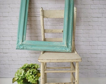 A Q U A, Mirror Antique Shabby Chic Cottage Nursery Dreamy Aqua