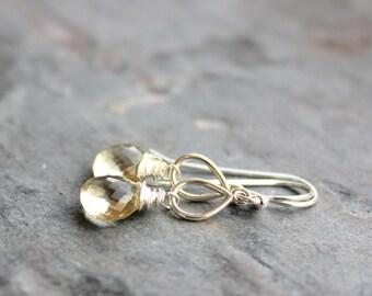 Scapolite Earrings Petite Sterling Silver Teardrop Briolette Earrings Vanilla