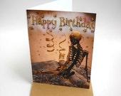 Skeleton Art Card, Goth Skeleton Birthday Card, Blank Card, Card and Envelope