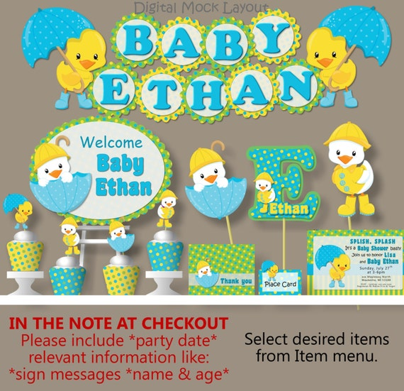 rubber duck baby shower or birthday party decorations