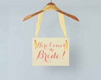 Here Comes The Bride Hanging Wedding Sign | Flower Girl Ring Bearer Banner Paper Graphic Ribbon Handmade in USA | Modern Script Font 1005 BW