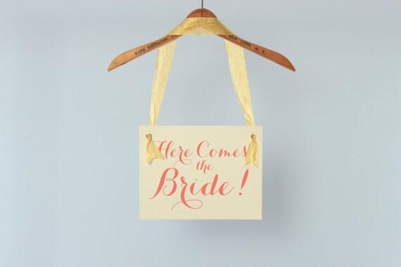 Here Comes The Bride Hanging Wedding Sign | Flower Girl Ring Bearer Banner | Paper Graphic Ribbon Handmade in USA | Modern Script Font 1005