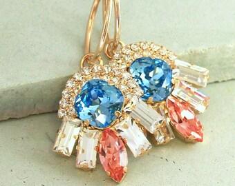 Blue Peach Crystal Earrings,Hoop Gold Earrings,Swarovski Crystal Earrings,Blue Peach Statement earrings,Gypsy Hoop Earrings,Bridal Earrings