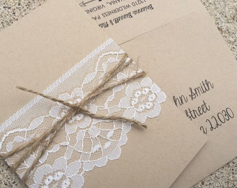 Lace Rustic Invitation - SAMPLE