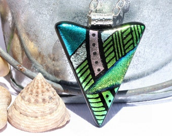 Dichroic Glass Pendant, Fused Glass Jewelry, Necklace; Modern, Abstract Geometric, Metallic - Blue, Green / 43mm x 34mm (Item #10707-P)