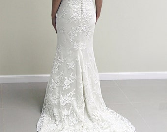 Alencon Lace Wedding Dress, Off White Lace Wedding Dress, Covered Back Wedding Dress, Wedding Dress with Sleeves