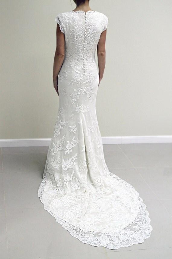 Alencon Lace Wedding Dress Off White Lace Wedding Dress