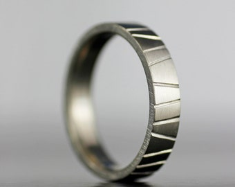 "Men's modern wedding band - unique hand textured simple ""bark"" wedding ring in sterling, palladium, gold or platinum  - eco-friendly"