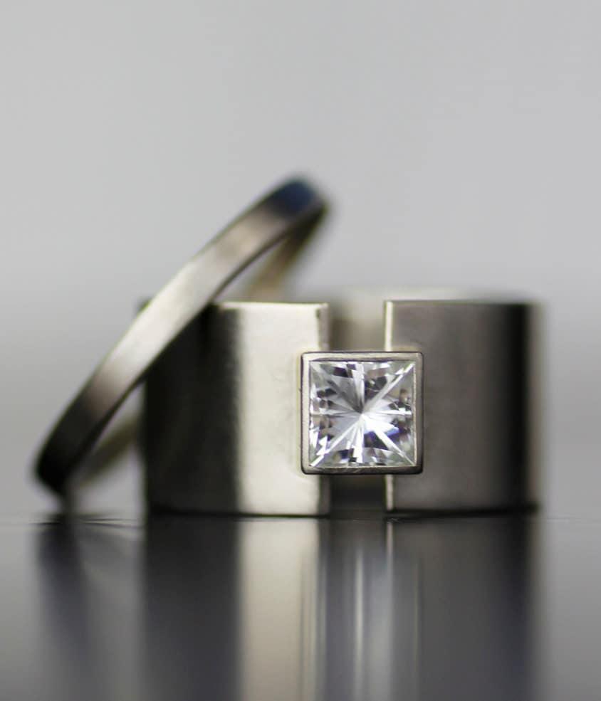 princess moissanite wide band alternative engagement ring. Black Bedroom Furniture Sets. Home Design Ideas