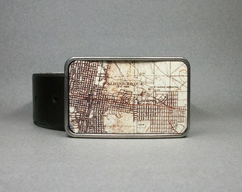 Belt Buckle Vintage Map Albuquerque New Mexico Metal Unique