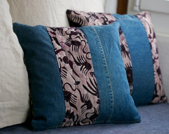 Pillow made from GENUINE Balinese batik and recyled denim