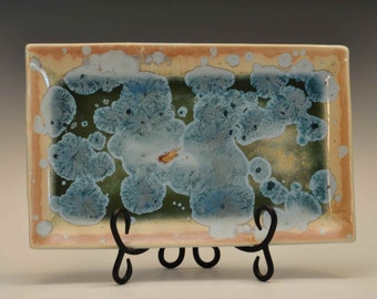 Large Green and Blue Crystalline Glazed Tray
