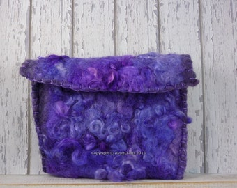 wet felted, clutch, purse, Angora goat, Mohair locks, hand dyed Mohair, wet felted purse,  OOAK Mohair purse, cruelty free, eco friendly