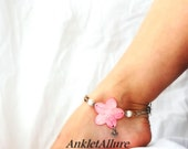 Beach Chic Hawaiian Pink Hibiscus Flower Anklet Freshwater Pearl Ankle Bracelet Butterfly Beach Anklet