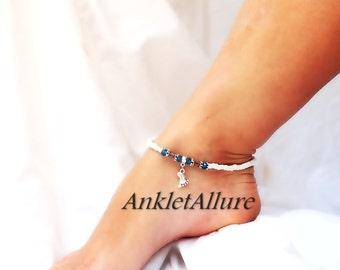Beachy Feet Foot Charm Anklet Beach Ankle Bracelet Ocean Cruise Blue Copper Silver Ankle Bracelet