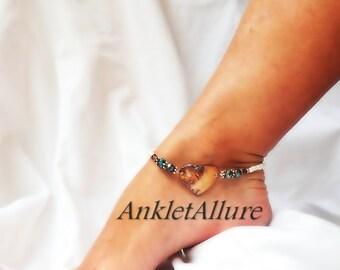 Surf n Sand Beach Lover Heart Anklet Aqua Blue Crystals Heart Shell Beach Ankle Bracelet