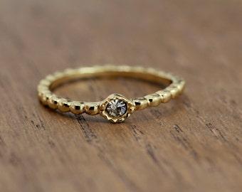 tiny stacking diamond ring, gold plated, rope band, boho chic