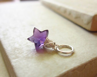 Natural Gemstone Star Charm - Purple Amethyst Jewelry - Natural Amethyst Pendant - Healing Crystals and Stones - Sterling Silver Charms