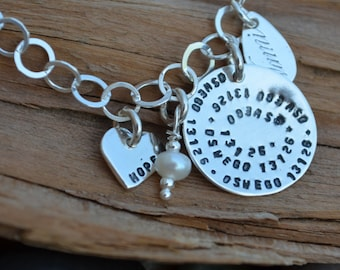 Charm Bracelet Personalized - Sterling Silver - Special Saying, Quotes, Song Lyrics, Dates - Friendship Bracelet, Going Away, Sisters