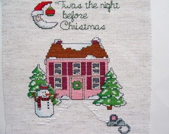 Christmas Cross Stitch, Completed Cross Stitch 5x7, Twas the Night Before Christmas, X Stitch, Counted Cross Stitch