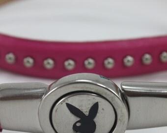 Vintage Playboy Bunny Belt Pink Leather Studded Silver Playboy Bunny Logo Buckle S/M Adjustable Sexy