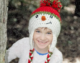 Snowman Hat, Christmas Hat, Child Snowman Hat, Baby Snowman Hat, Newborn Snowman Hat, Photo Prop, Select Size, Red, Green, White