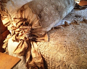 King Duvet Shabby Chic Magnolia Pearl Farm Steampunk NeoVictorian Junk Gypsy Vintage Antique Lace Flash and Trash