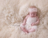 Long Ivory Ruffle Romper, Baby Girl Romper,Newborn Romper,Ruffle Romper with Vintage Pink Hydrangea Headband with Pearls