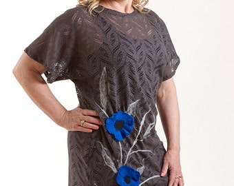 Nuno felted blouse/tunic OOAK  Art to Wear Gray lace and Royal Blue flowers, nuno felt clothing.