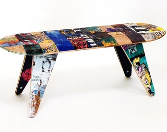 "Skateboard Bench - 48"" Two seater. Modern Recycled Skateboard Furniture designed and handmade by Deckstool."
