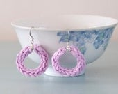 Lilac Knitted Earrings - Purple Silver Plated Cotton Lavender Hoop Earrings Colourful Jewellery Gift for Her by Emma Dickie Design