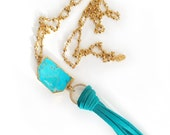 CLEARANCE! Turquoise Tassel Necklace-Boho Necklace, Long Necklace, Agate, Gold Necklace