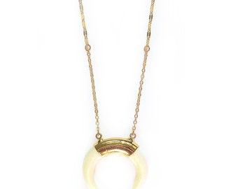 Bone Crescent Necklace (Cream)-Crescent necklace, boho jewelry, crescent jewelry