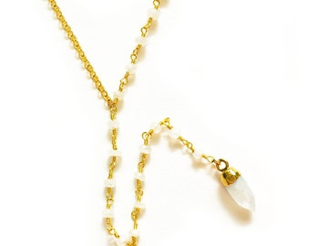 Hot Summer Nights Collection-Moonstone Lariat Necklace, delicate necklace, layering necklace, gold necklace