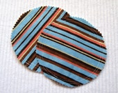 Organic Nursing Pads Bamboo Fleece with PUL - Blue and Brown Stripes - 2 Pads - READY to SHIP