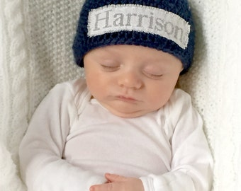Crochet Baby Personalized Name Cross Stitch Beanie - Newborn to 3 months - Dark Country Blue - MADE TO ORDER