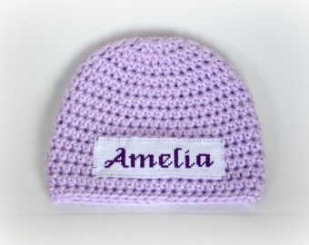 Crochet Baby Personalized Name Cross Stitch Beanie - Newborn to 3 months - Orchid - MADE TO ORDER