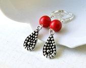 scarlet silver plated lever back drop earrings, dangle, beaded earrings, red, silver