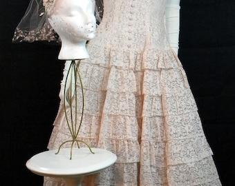 1950s Vintage Wedding Dress, Veil, Crinoline